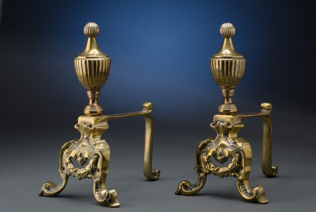 Pair of Brass Fire Dogs
