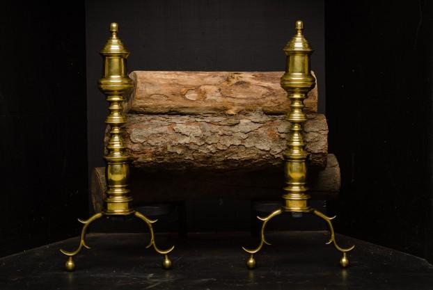 Antique Brass Andirons