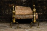 Pair of French Brass Andirons on Paw Feet