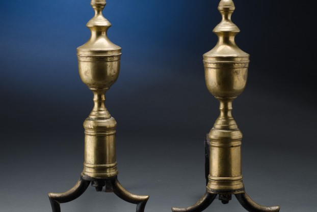 Pair of Brass Andirons with Penny Feet