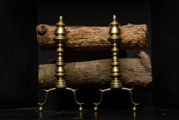 American Brass Andirons-Pair