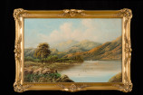 Pair of Oil on Canvas Mountain and Lake Scenes