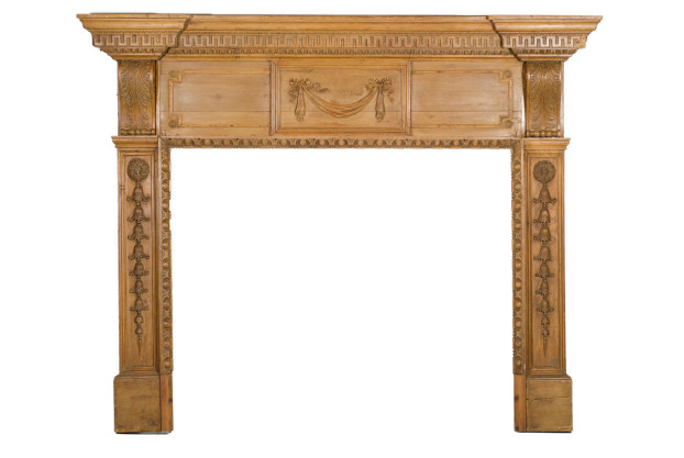 19th Century Carved Pine Mantel