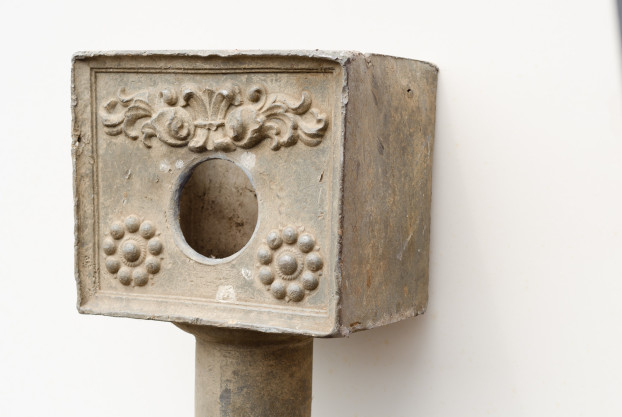 Lead Drain Pipe with Floral Design