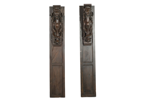 Fireplace Mantel sides with Attached Carved Lions