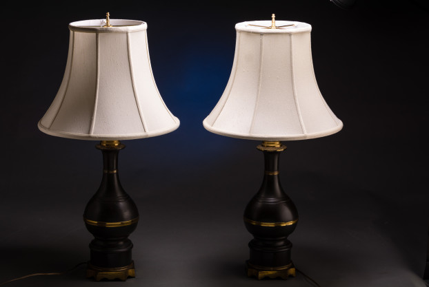 A Pair Brass Oil Burning Lamps Wired
