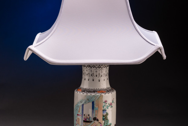 A Chinese Hat Stand Vase Lamp