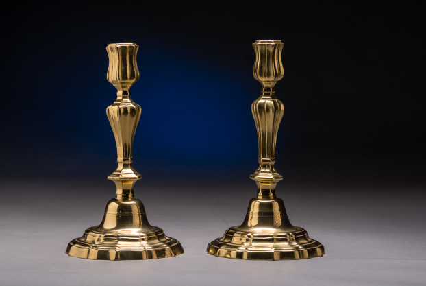 Pair of Fine French Brass Candlesticks