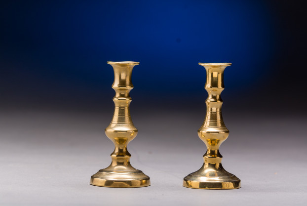 Pair of Miniature Candlestick Holders in brass.  English origin, late 19th century.