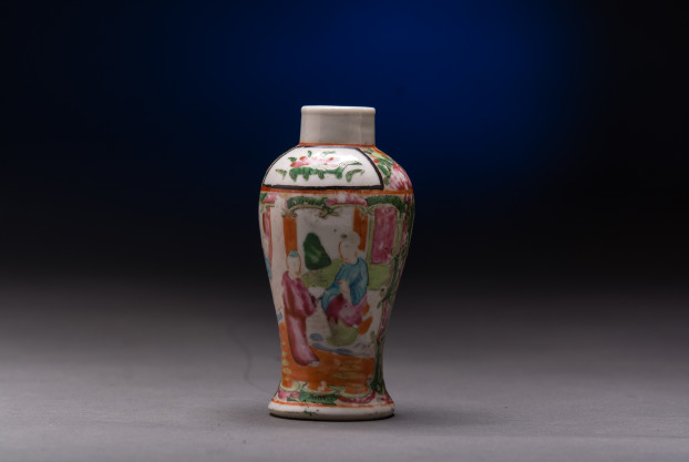 Chinese Export (Rose Medallion) Mini Baluster Vase