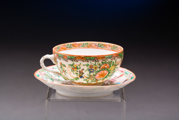 Chinese Export (Rose Medallion) Cup and Saucer