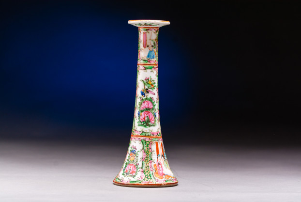 Chinese Export Rope Canton Candlestick
