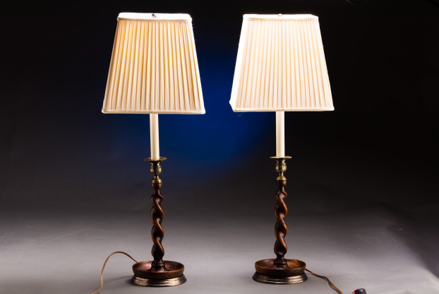 A Pair of Wood Burley Twist Lamps