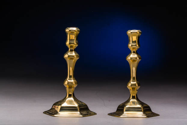 Pair of Baluster turned, Brass Candlesticks