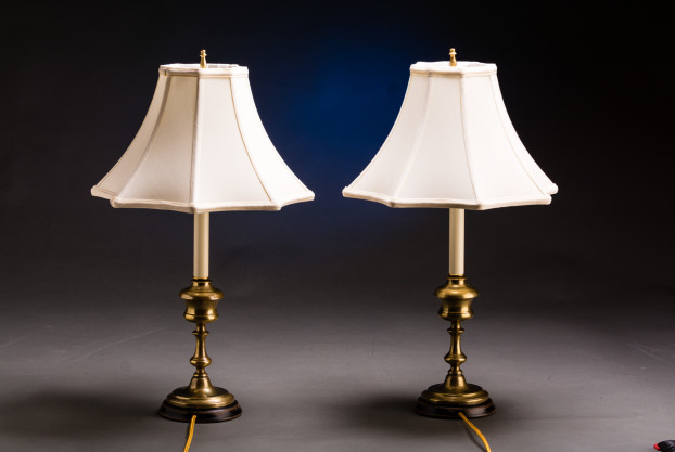 A Pair Of French Brass Fluid Lamps