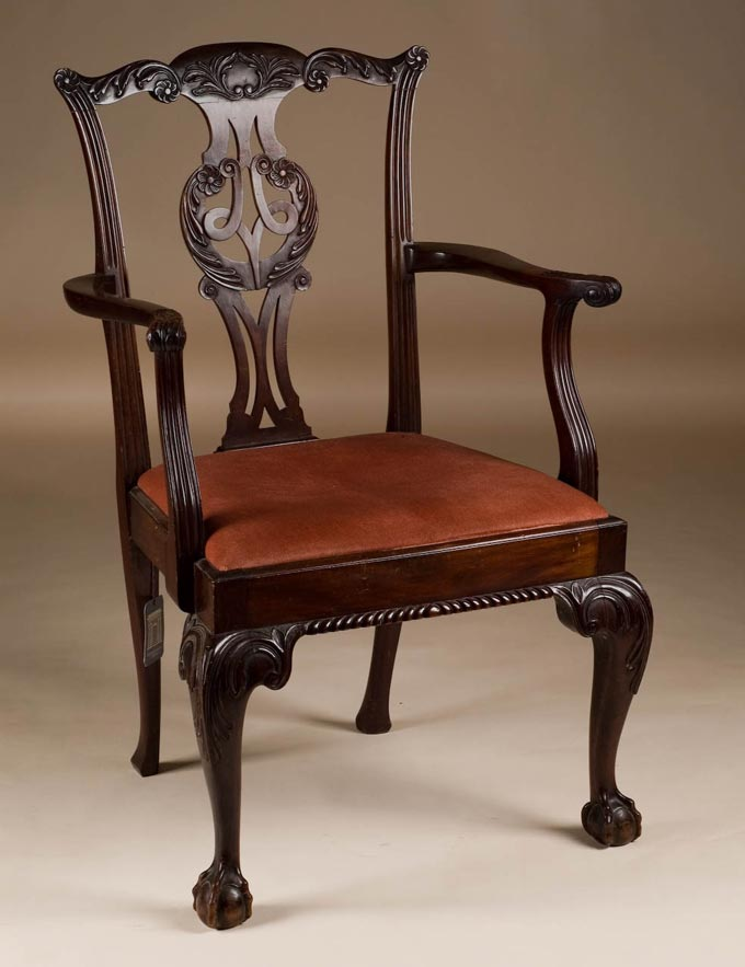 Mahogany Armchair On Cabriole Legs