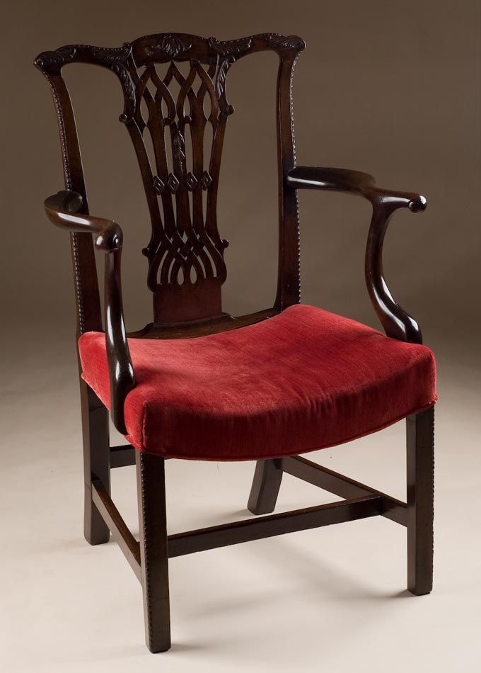 & English Antique Chippendale Armchair