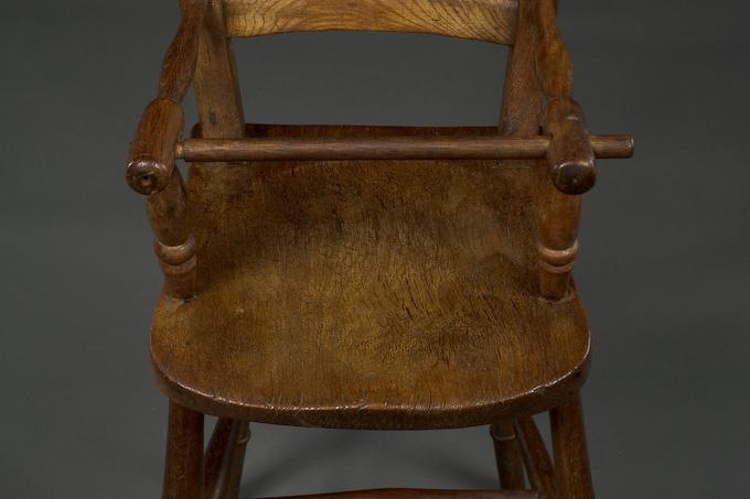Description: Antique oak and elm child's high chair. - Antique High Chair