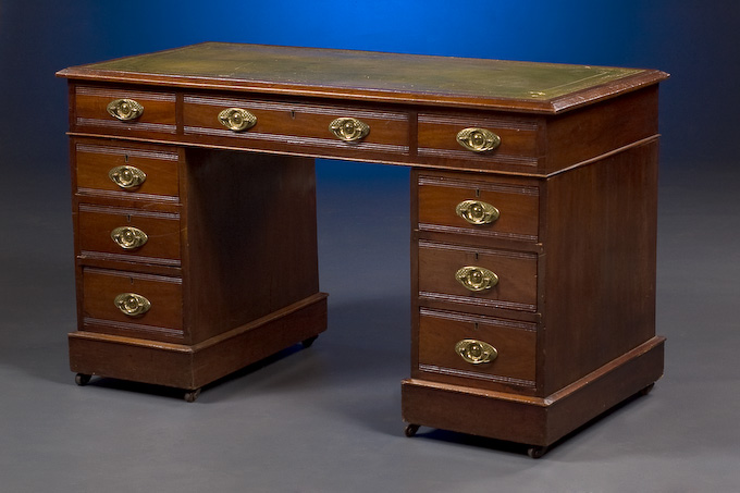 - Leather Top Pedestal Desk