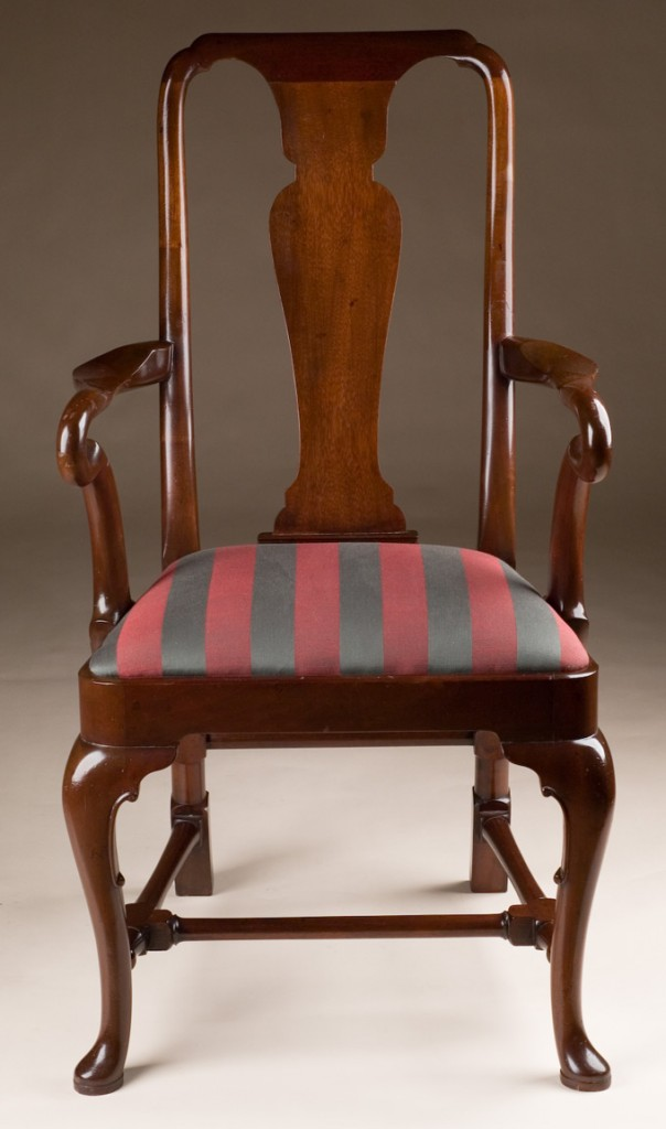 Mahogany Queen Anne Style Armchair