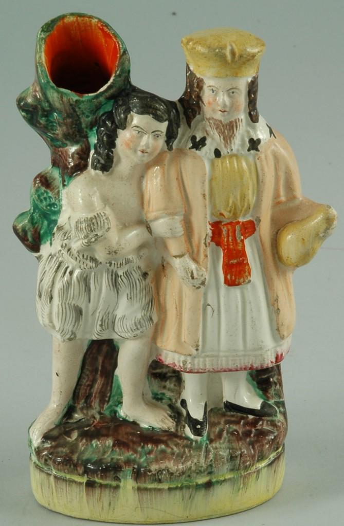 Antique Staffordshire Pottery Figure Spill Vase