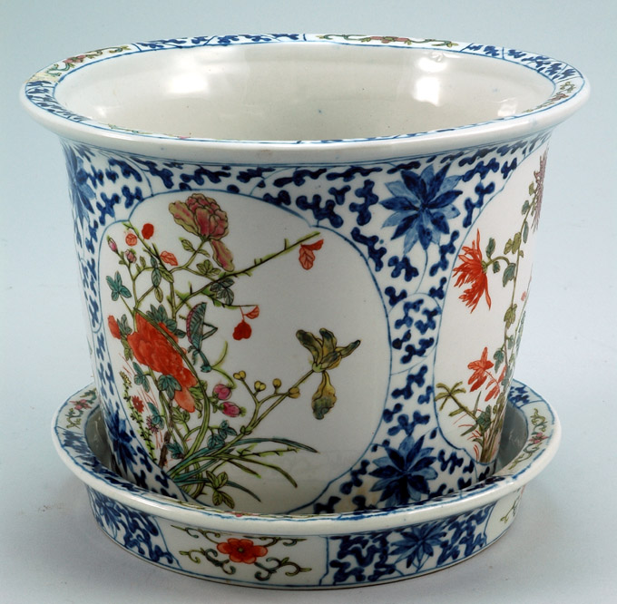 Antique Chinese Floral Flower Pot