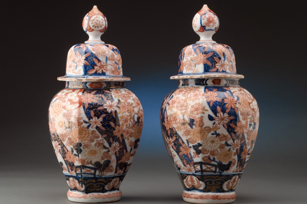 Pair Of 13 Imari Vases With Lids