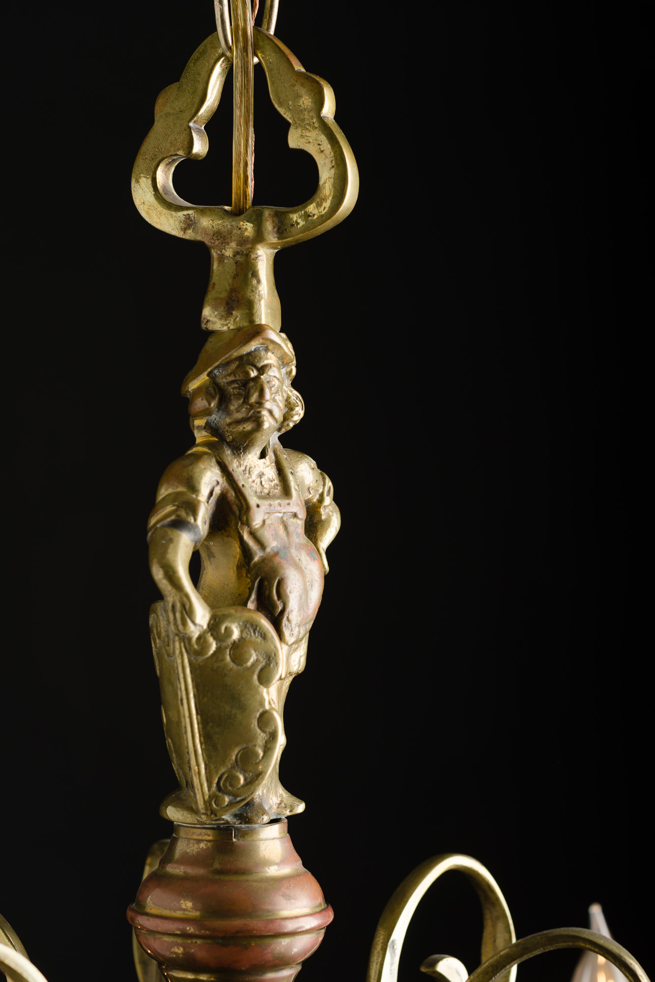 Brass Chandelier With Figure And Hook Ornaments
