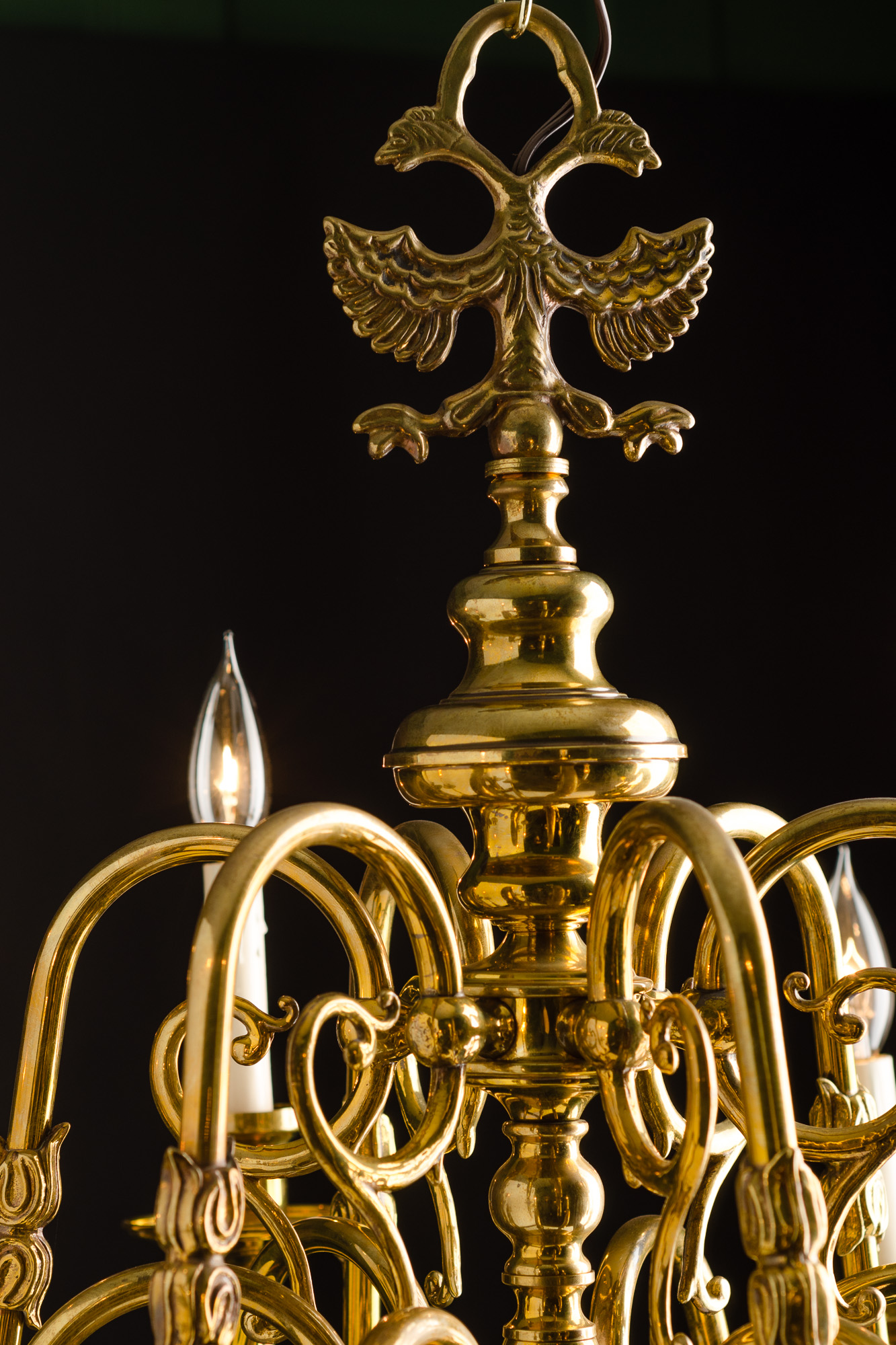 Two Tier Brass Chandelier